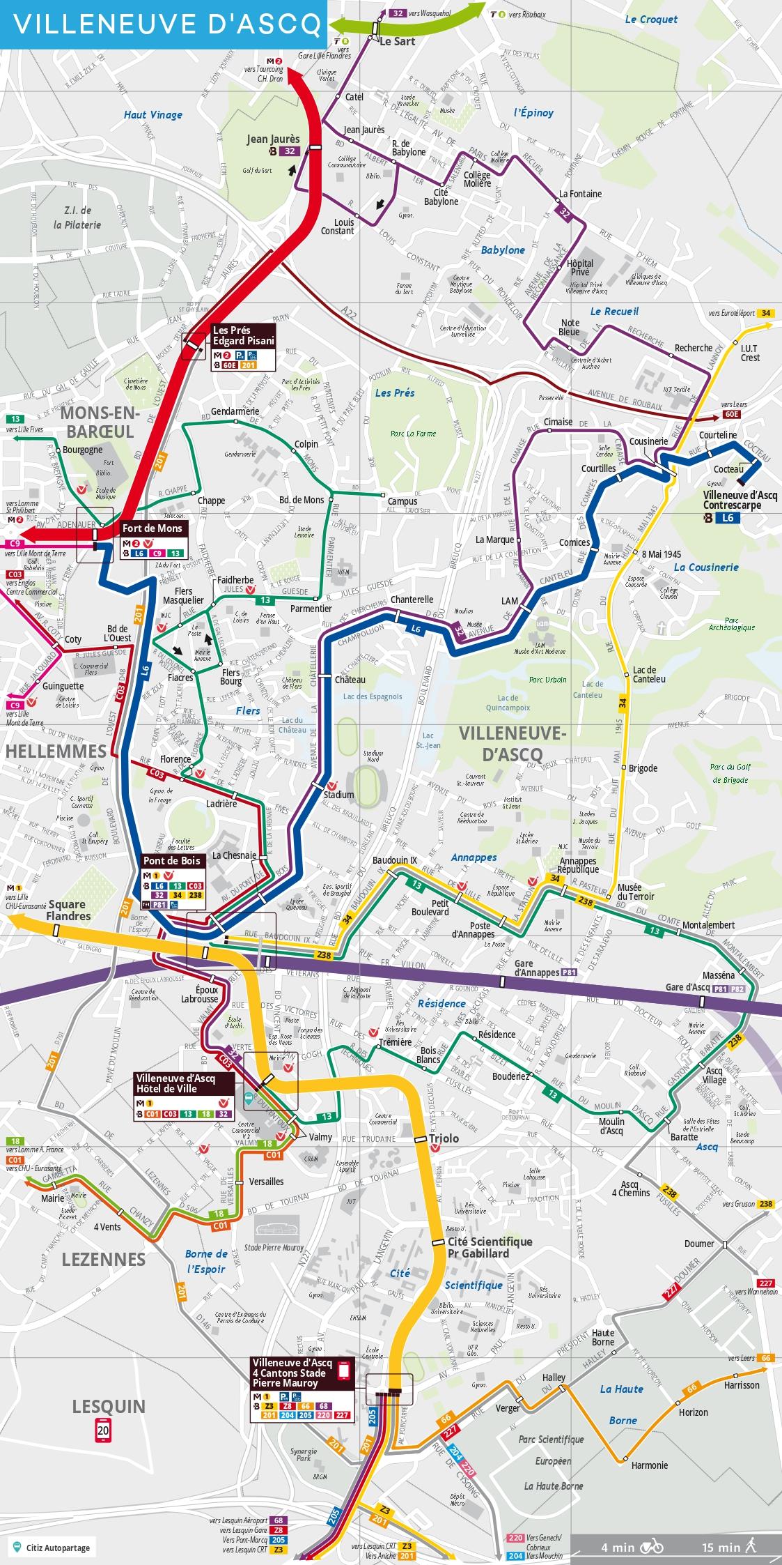Carte des transports en commun à Villeneuve d'Ascq