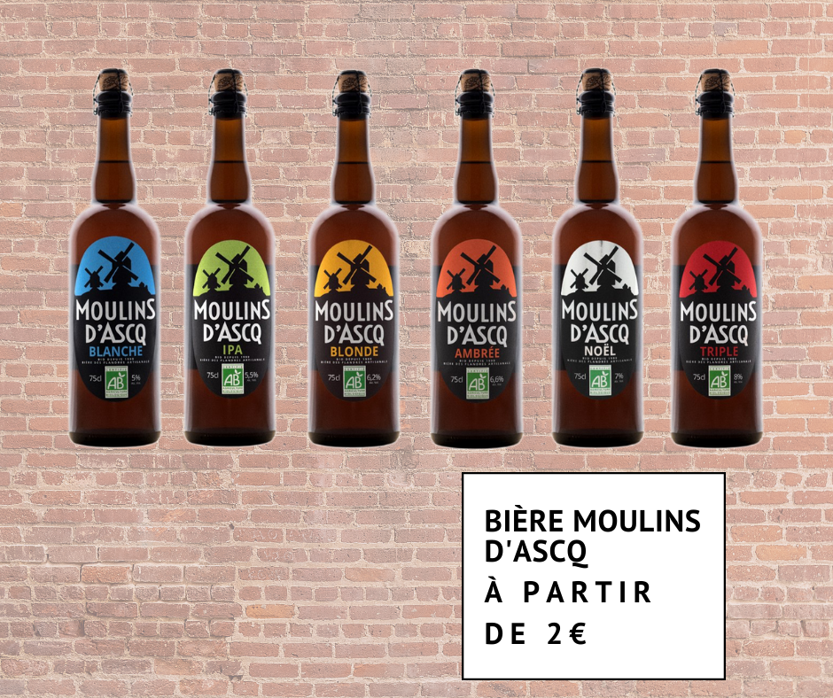 Gamme de bières biologiques Moulins d'Ascq à partir de 2 euros