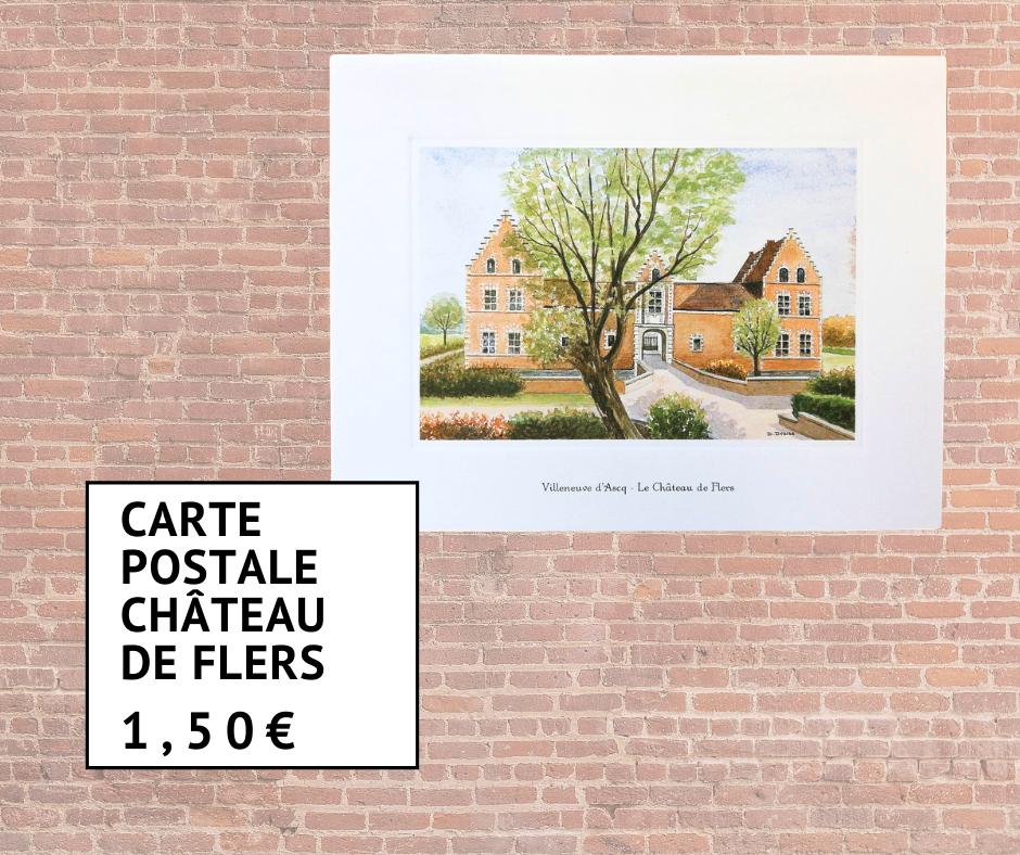 Carte postale du Château de Flers à l'aquarelle