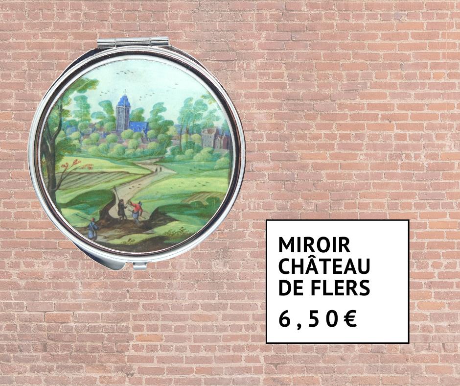 Miroir de poche avec peinture du Château de Flers 6 euros 50